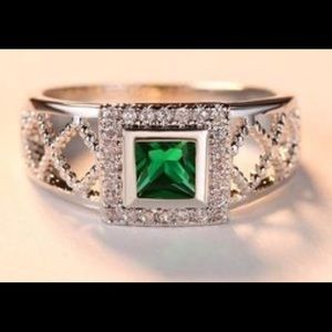 Jewelry - *Lab Created Emerald White Gold Plated Ring*